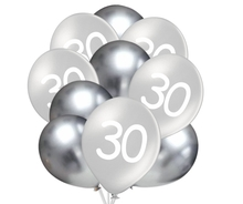Balónky 30 narozeniny stříbrné 10 ks 30 cm mix