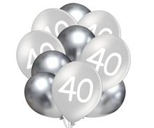 Balónky 40 narozeniny stříbrné 10 ks 30 cm mix