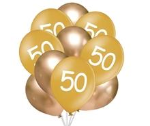 Balónky 50 narozeniny zlaté 10 ks 30 cm mix