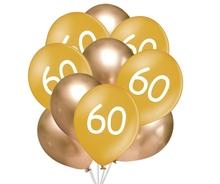 Balónky 60 narozeniny zlaté 10 ks 30 cm mix