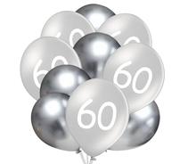 Balónky 60 narozeniny stříbrné 10 ks 30 cm mix