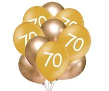 Balónky 70 narozeniny zlaté 10 ks 30 cm mix