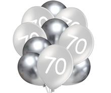 Balónky 70 narozeniny stříbrné 10 ks 30 cm mix