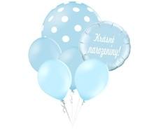 Balónky puntíky set Krásné narozeniny! kruh světle modrý