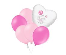 Set 2.narozeniny růžový slon srdce foliový balónek