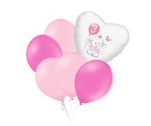 Set 3.narozeniny růžový slon srdce foliový balónek