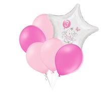 Set 3.narozeniny růžový slon hvězda foliový balónek