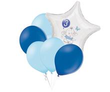 Set 3.narozeniny modrý slon hvězda foliový balónek