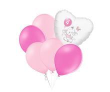 Set 4.narozeniny růžový slon srdce foliový balónek