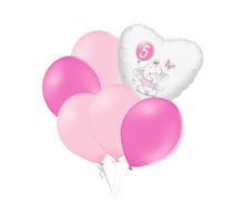 Set 5.narozeniny růžový slon srdce foliový balónek