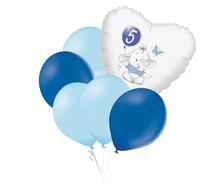 Set 5.narozeniny modrý slon srdce foliový balónek