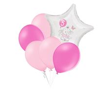 Set 5.narozeniny růžový slon hvězda foliový balónek