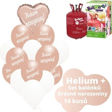 Helium sada - srdce růžovo-zlaté a  balónky s českým potiskem KRÁSNÉ NAROZENINY