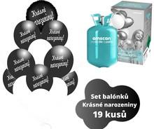Helium sada - kruh černý a balónky s českým potiskem KRÁSNÉ NAROZENINY