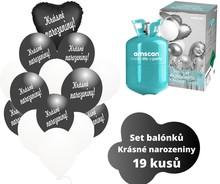 Helium sada - srdce černé a balónky s českým potiskem KRÁSNÉ NAROZENINY
