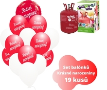 Helium sada - kruh červený a balónky s českým potiskem KRÁSNÉ NAROZENINY