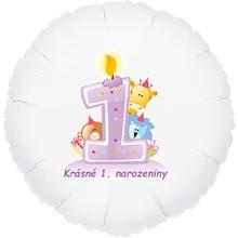 Krásné 1. narozeniny fóliový balónek kruh pro holky