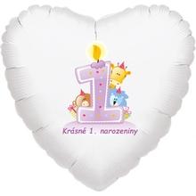 Krásné 1. narozeniny fóliový balónek srdíčko pro holky