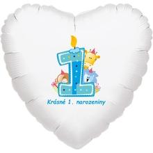 Krásné 1. narozeniny fóliový balónek srdíčko pro kluky