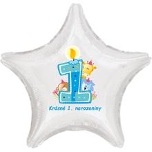 Krásné 1. narozeniny fóliový balónek hvězda pro kluky