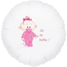 Balónek bílý fóliový kruh Je to holka!