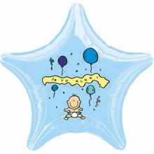 Balónek fóliový světle modrá hvězda Je to kluk!