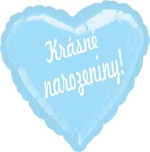Balónek fóliový světle modré srdíčko Krásné narozeniny!