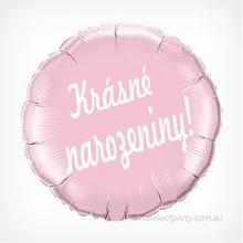 Fóliový balónek kruh světle růžový Krásné narozeniny!