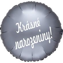 Balónek fóliový satén šedý kruh Krásné narozeniny!