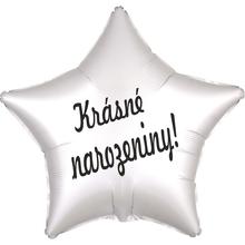Balónek fóliový bílá hvězda Krásné narozeniny!