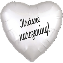 Balónek fóliový bílé srdíčko Krásné narozeniny!