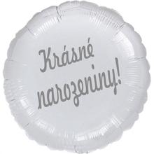 Balónek fóliový stříbrný kruh Krásné narozeniny!