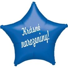 Fóliový balónek hvězda modrá Krásné narozeniny!