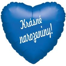 Fóliový balónek srdíčko modré Krásné narozeniny!
