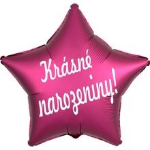 Fóliový balónek hvězda tmavě růžová Krásné narozeniny!