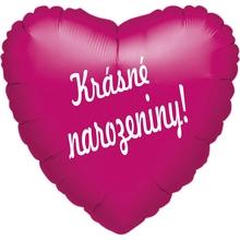 Fóliový balónek srdíčko tmavě růžové Krásné narozeniny!