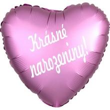 Fóliový balónek srdíčko růžové Krásné narozeniny!
