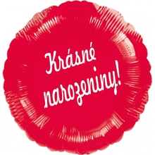 Balónek fóliový kruh červený Krásné narozeniny!