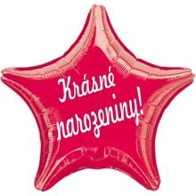 Balónek hvězda fóliový červený Krásné narozeniny!