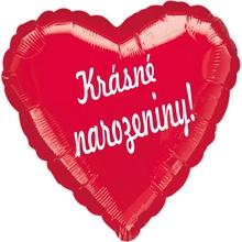 Balónek fóliový červené srdíčko Krasne narozeniny !