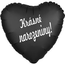 Balónek fóliový černé srdíčko Krásné narozeniny!