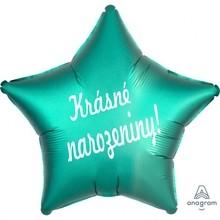 Balónek fóliový zelená hvězda Krásné narozeniny!