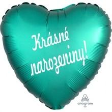 Balónek fóliové zelené srdíčko Krásné narozeniny!