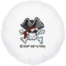 Krásné narozeniny balónek pirát fóliovy bílý