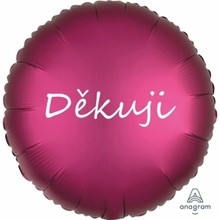 Fóliový balónek tmavě růžový satén Děkuji
