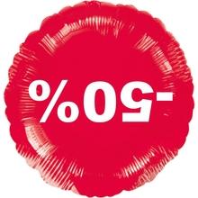Visící balónek fóliový červený -50%