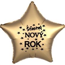 Balónek fóliový Šťastný NOVÝ ROK zlatá hvězda