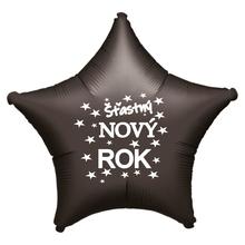 Balónek fóliový Šťastný NOVÝ ROK černá hvězda