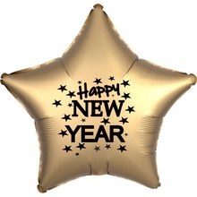 Balónek fóliový Happy NEW YEAR zlatá hvězda