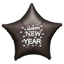 Balónek fóliový Happy NEW YEAR černá hvězda